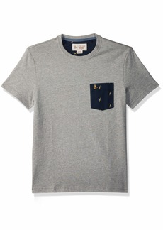 Original Penguin Men's Short Sleeve Lightening Pocket Tee rain Heather
