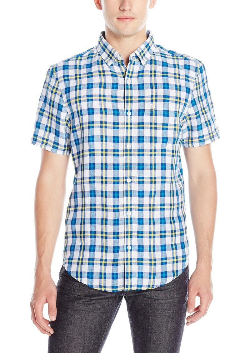 Original Penguin Men's Short Sleeve Linen Neon Plaid Button Down Shirt