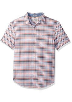 Original Penguin Men's Short Sleeve Multi Color Gingham Stretch Oxford Shirt
