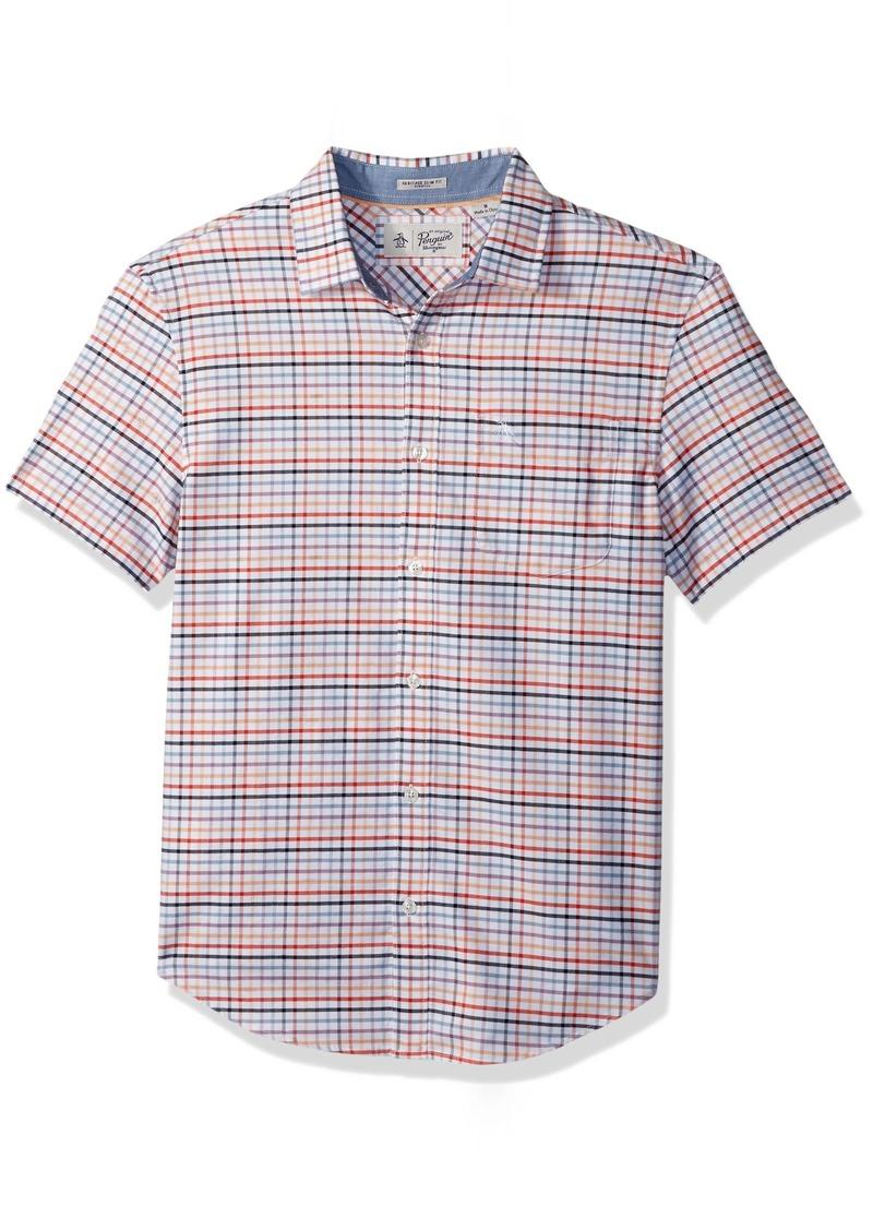 Original Penguin Men's Short Sleeve Multi Color Gingham Stretch Oxford Shirt