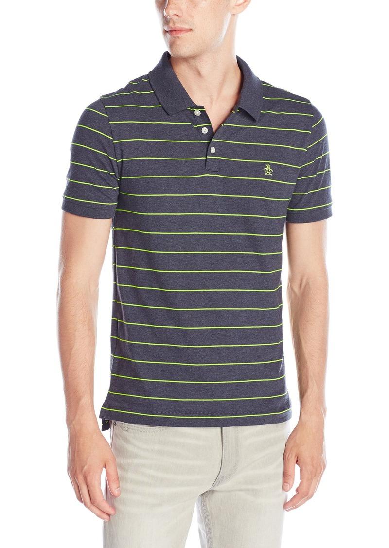 Original Penguin Men's Short Sleeve Neon Stripe Polo Shirt
