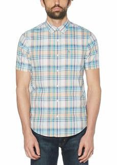 Original Penguin Men's Short Sleeve Plaid Button Down Shirt  X Large