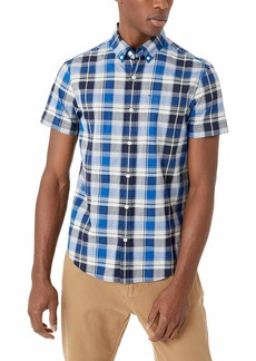 Original Penguin Men's Short Sleeve Plaid Button Down Shirt Dark Sapphire SUF The Web