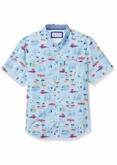 Original Penguin Men's Short Sleeve Printed Button Down Shirt  X Large