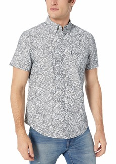 Original Penguin Men's Short Sleeve Printed Button Down Shirt Dark Sapphire Leaf L