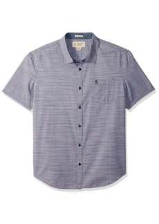 Original Penguin Men's Short Sleeve Slub Horizontal Stripe Shirt with Spade Pocket