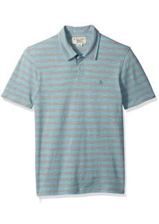 Original Penguin Men's Short Sleeve Slub Stripe Pique Polo