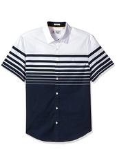 Original Penguin Men's Short Sleeve Stretch Striped Print Poplin Shirt