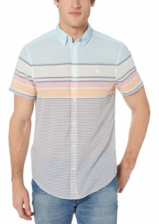 Original Penguin Men's Short Sleeve Stripe Button Down Shirt  S