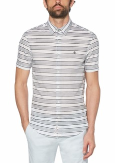 Original Penguin Men's Short Sleeve Stripe Button Down Shirt