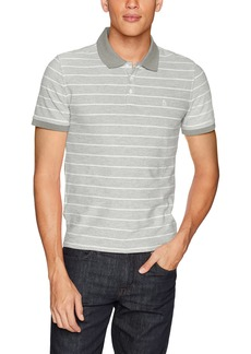 Original Penguin Men's Short Sleeve Stripe Polo rain Heather