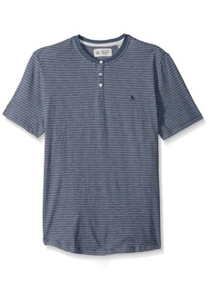 Original Penguin Men's Short Sleeve Striped Denim Slub Henley