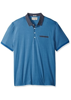 Original Penguin Men's Short Sleeve Striped Polo with Chambray Collar