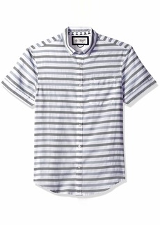 Original Penguin Men's Short Sleeve Textured Striped Shirt  Extra Extra Large