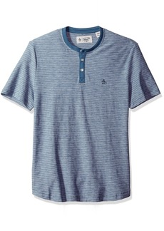 Original Penguin Men's Short Sleeve Tri Color Feeder Stripe Henley