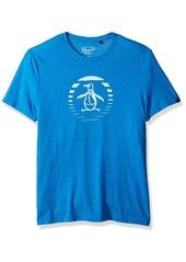 Original Penguin Men's Short Sleeve Triblend Ombre Stripe Circle Logo Graphic Tee