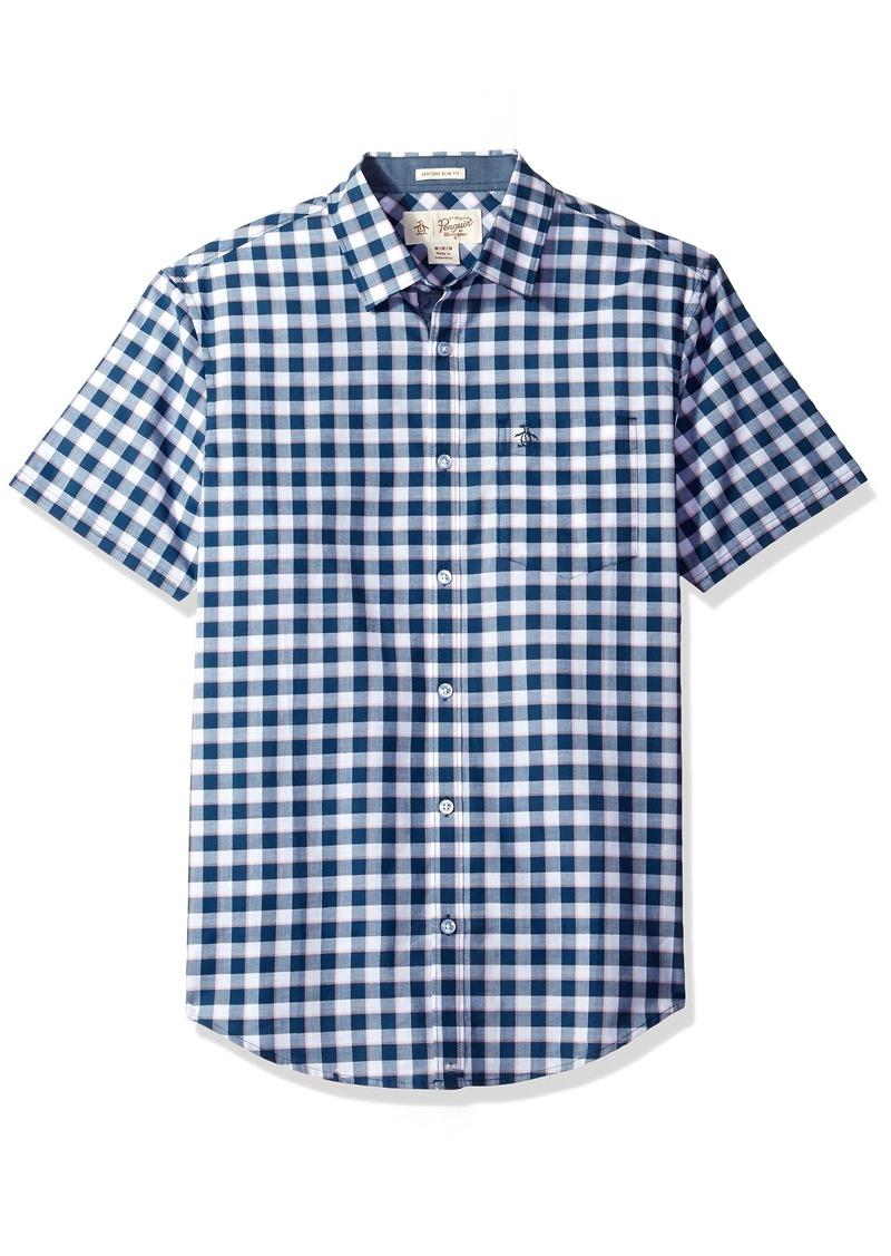 Original Penguin Men's Short Sleeve Uneven Gingham Shirt with Spade Pocket in Lawn