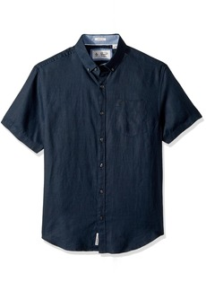 Original Penguin Men's Short Sleeve Washed Linen Shirt