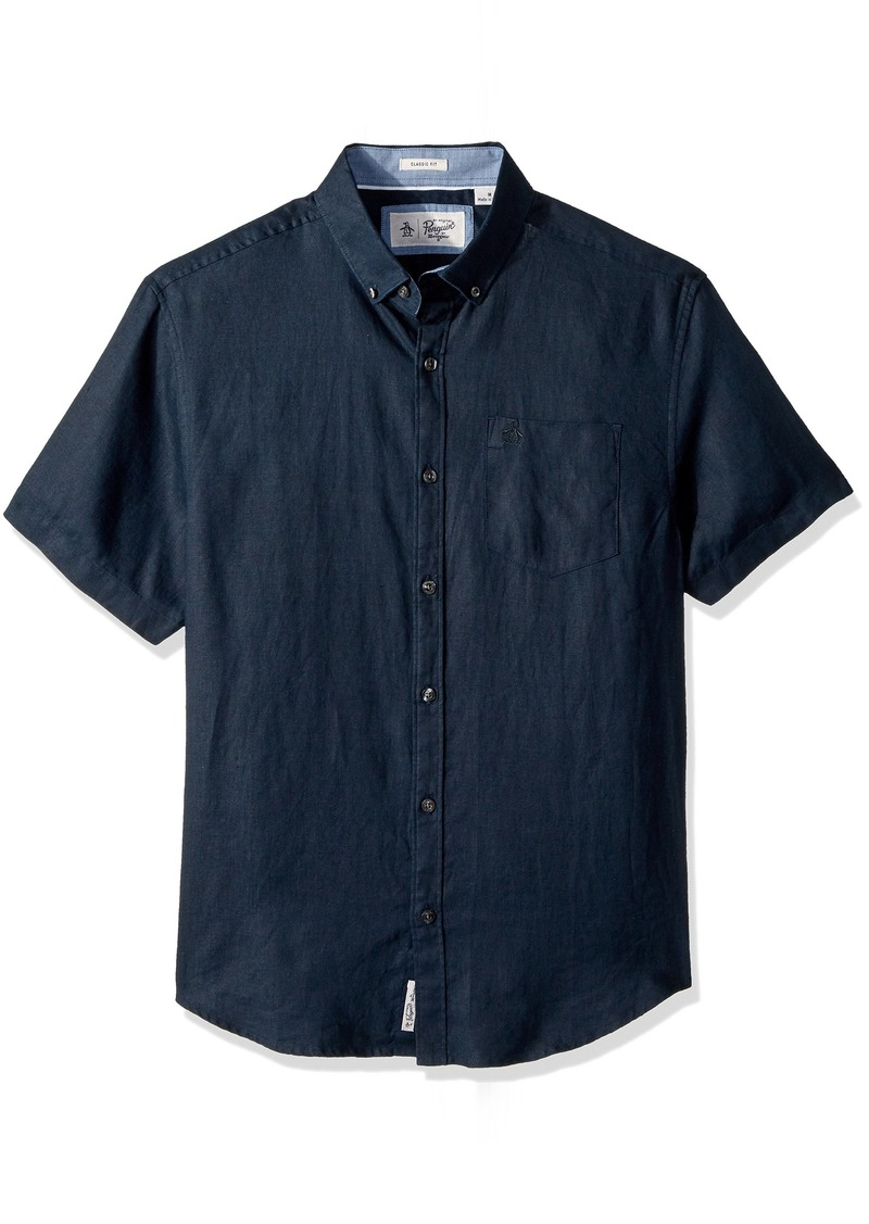 Original Penguin Men's Short Sleeve Washed Linen Shirt