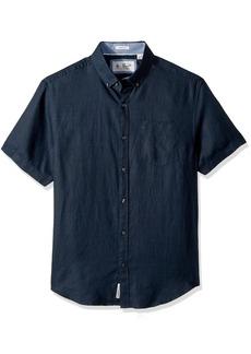 Original Penguin Men's Short Sleeve Washed Linen Shirt dark sapphire Extra Extra Large