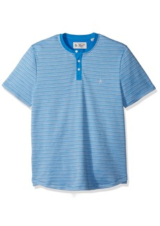Original Penguin Men's Short Sleeve Watery Ottoman Striped Henley