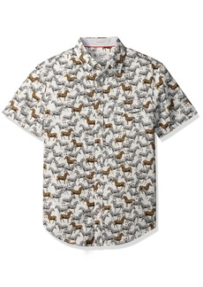 Original Penguin Men's Short Sleeve Zebra Printed Poplin