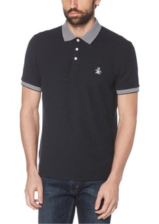 Original Penguin Men's Slim-Fit Gingham Collar Pique Polo Shirt