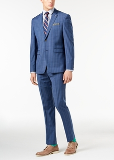 Closeout! Original Penguin Men's Slim-Fit Stretch Blue Pinstripe Suit