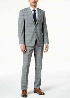 Closeout! Original Penguin Men's Slim-Fit Stretch Gray Plaid Suit