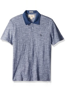Original Penguin Men's Slub Feeder Stripe with Collar 2-Button Polo Shirt