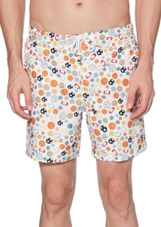 "Original Penguin Men's Sports Theme 6"" Swim Trunks"