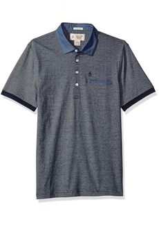 Original Penguin Men's Ss Stripe Polo W/Chambray Collar