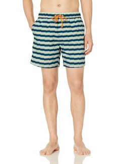 Original Penguin Men's Stripe Elastic Waist Volley Swim Short