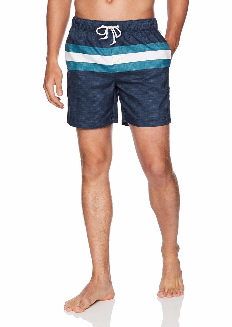 Original Penguin Men's Stripe Elastic Waist Volley Swim Short