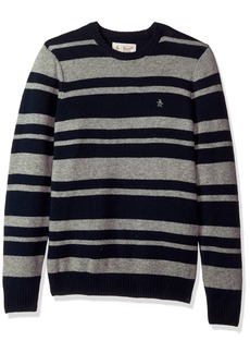 Original Penguin Men's Striped Wool Crew Sweater  Extra Large