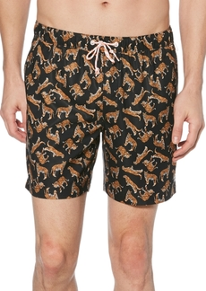 "Original Penguin Men's Tiger-Print 6"" Swim Trunks"