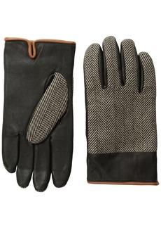 Original Penguin Men's Woolen Herringbone Leather Gloves