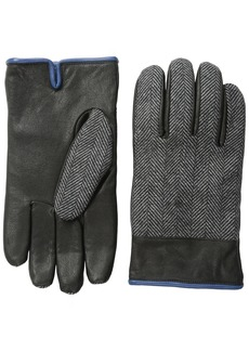 Original Penguin Men's Woolen Herringbone Leather Gloves