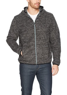 Original Penguin Men's Zip Front Heathered Fleece Jacket Dark Charcoal Extra Large
