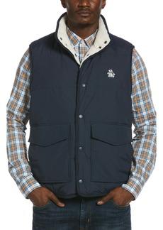 Original Penguin Nylon & High Pile Fleece Reversible Lined Vest