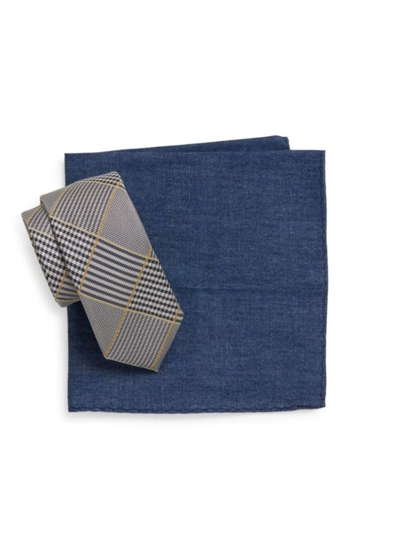 Original Penguin Peary Plaid Tie & Chambray Pocket Square Gift Set