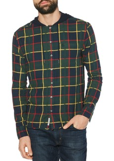 Original Penguin Plaid Flannel Hooded Regular Fit Shirt
