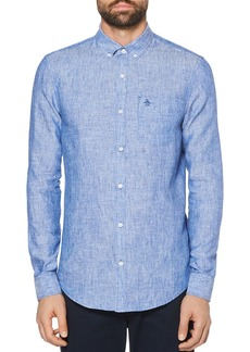 Original Penguin Linen Slim Fit Button-Down Shirt