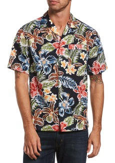 Original Penguin Slim Fit Floral Short Sleeve Button-Up Camp Shirt