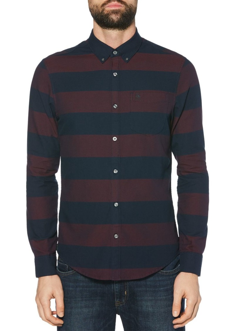 Original Penguin Striped Dobby Oxford Slim Fit Button-Down Shirt