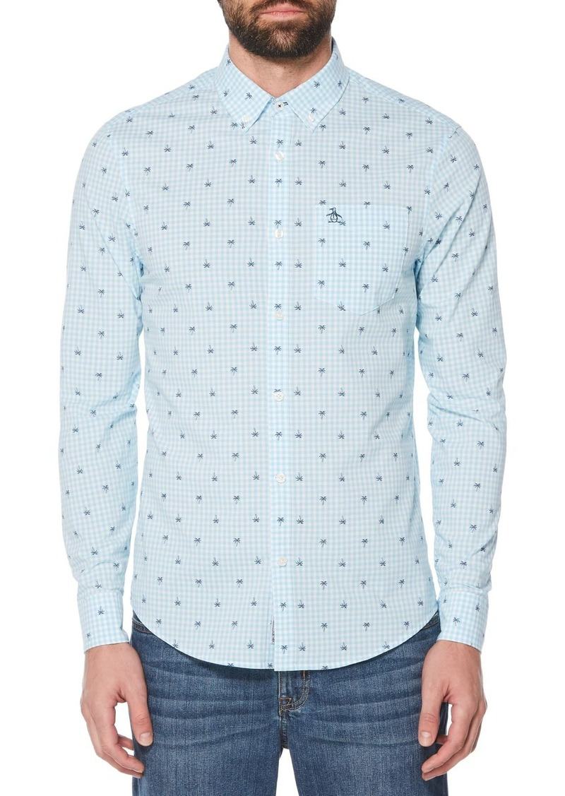 Original Penguin Palm Print Extra Slim Fit Gingham Shirt