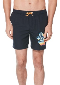 Original Penguin Pete Print Volley Swim Trunks