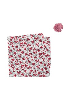 Original Penguin Red Floral Lapel Pin & Pocket Square Set