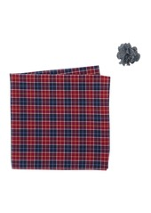 Original Penguin Red Navy Plaid Pocket Square & Lapel Pin Set