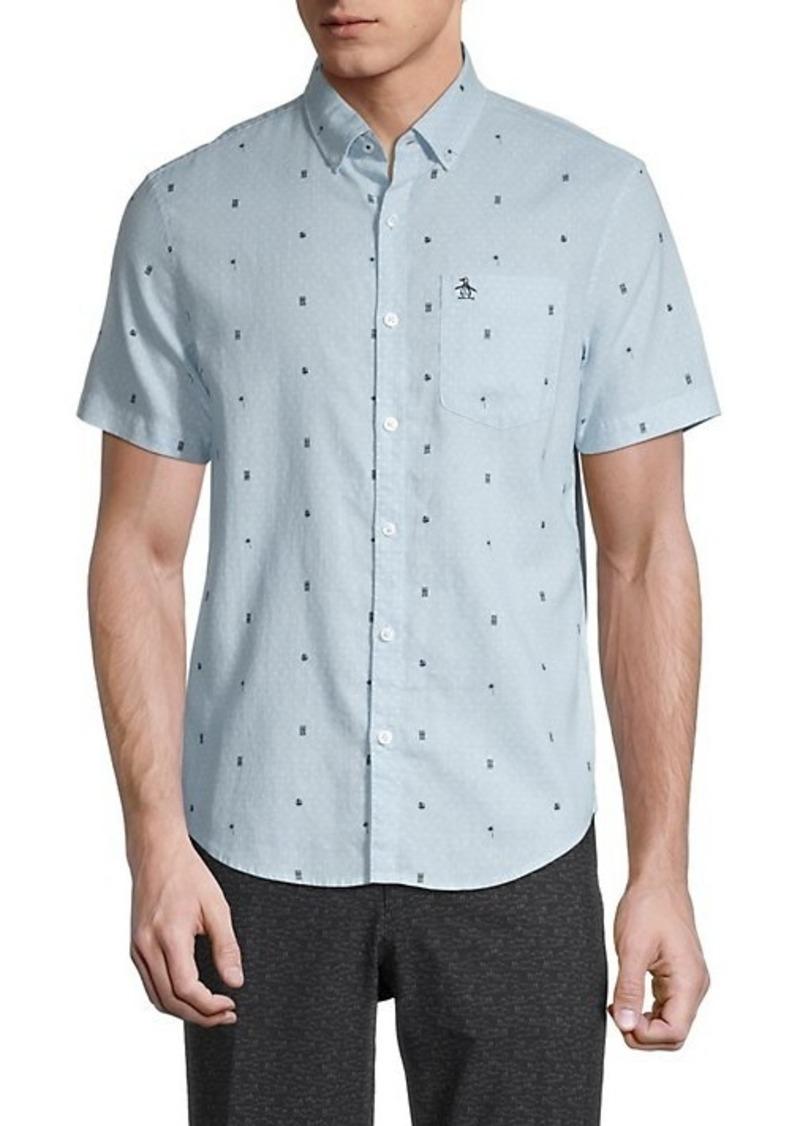 Original Penguin Regular-Fit Print Linen & Cotton Shirt